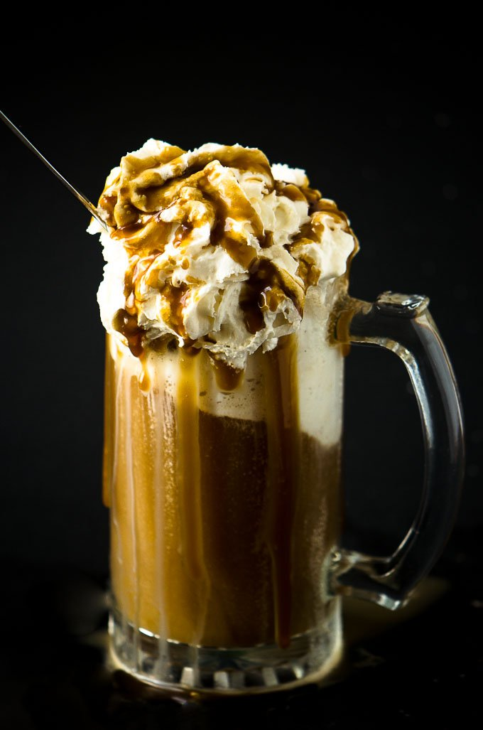 Root Beer Floats with Bourbon Caramel Sauce via @mydishisbomb