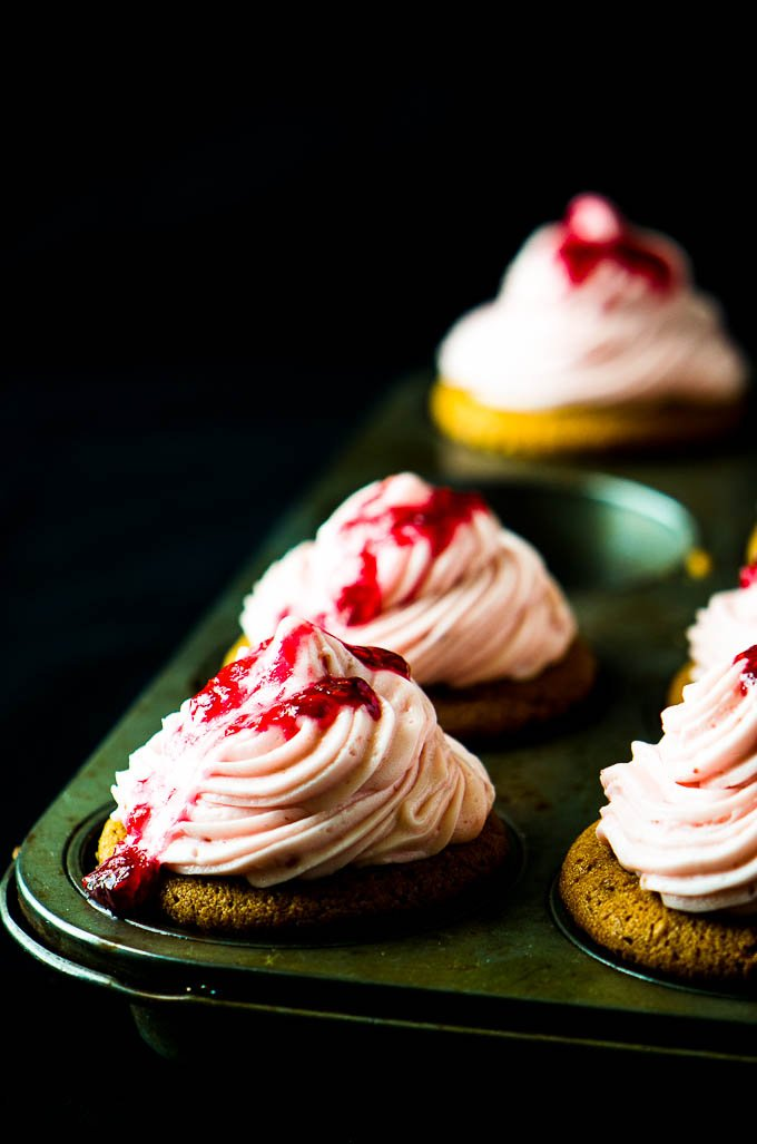 Peanut butter and jelly cupcakes via @mydishisbomb