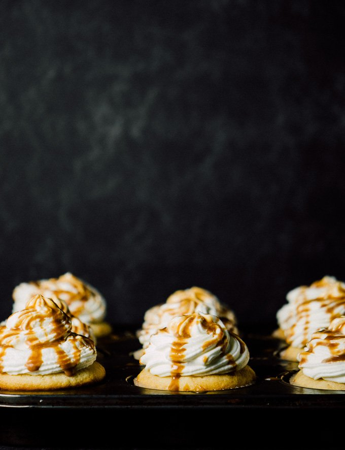Caramel Cream Cupcakes with a light whipped cream frosting